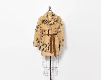 Vintage 70s Belted Fur Coat / 1970s Spotted Butterscotch Rabbit Fur Jacket