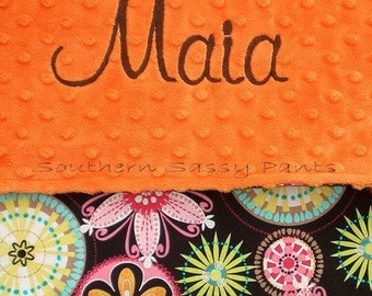 Baby Blanket with Name - Toddler Size Personalized Snuggle Blanket for Girls - Modern Floral Cotton with Monogrammed Minky - 36x40