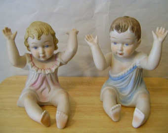 Vintage Pair of Large Vintage Boy and Girl Baby Figurines- Baby Figurines - Capsteam Epsteam