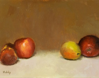Still life oil painting - apples, plums, pear