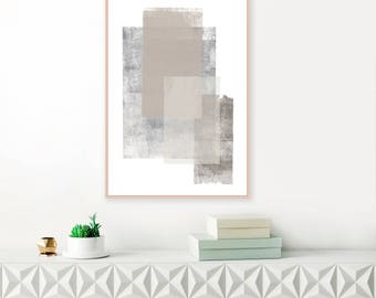 Grey and Brown Abstract Art, Neutral Minimalist Painting, Living Room Print, Extra Large Wall Art, Modern Printable,Neutral Art