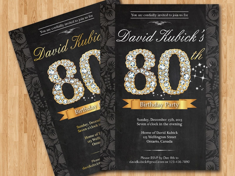 80th birthday invitation black and gold diamond number zoom filmwisefo