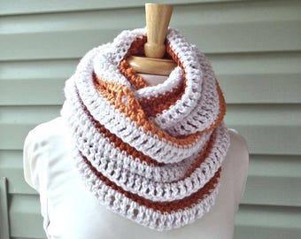 SALE / Striped Infinity Scarf, Circle Scarf, Linen Orange, Crochet Knit - Ready to Ship