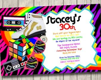 80s Retro 80s Invitation Retro Party Birthday Invite personalised 80s invitation