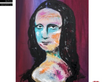 """SOLD La Mona Lisa For Order. (90x70cm) 35.4""""x27.6"""" Free WorldWide Shipping acrylic painting ready to hang, hand painting by Carlos Pun"""