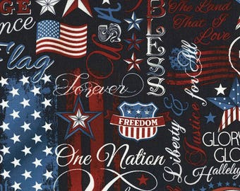 Patriotic Words Fabric; 1/3 Yard, 1/2 Yard, or By The Yard; C5280 Timeless Treasures; American Pride; Patriotic Fabric; Quilting Fabric
