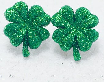 St. Patrick's Day Earrings, Four Leaf Clover, Green Shamrock Earrings, Irish Earrings, Irish Earrings, Lucky Earrings, Green Glitter Clover
