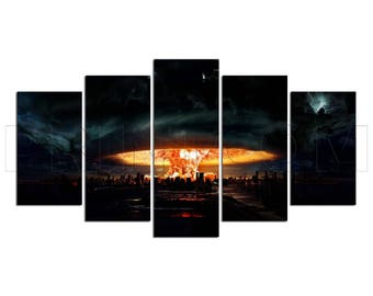 Nuclear Explosion Apocalypse Fire Flames Skyline Cityscape Canvas Print Gift 5 Panels