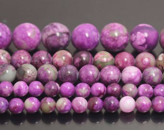 "You Pick Top Quality Purple Sugilite Crystal Gemstone 4mm 6mm 8mm 10mm Round Loose Beads 15.5"" #GF2"