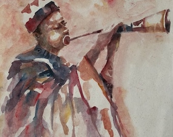 Beautiful African Flute Player Painting on Paper