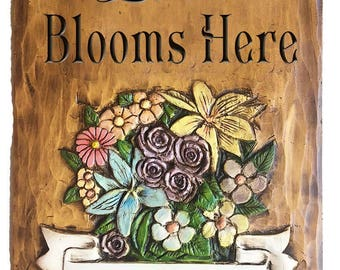 Love Blooms Here Personalized Sign