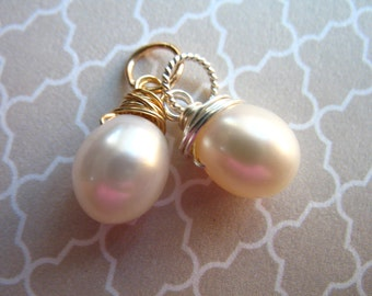 PEARL Charm Pendant / Pearl Drop / Pearl Dangle / Solitaire Pearl, White or Pink / gift for her June birthstone bridesmaid gift gdp7 gemdone