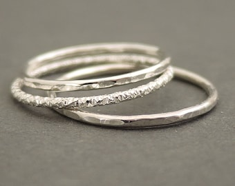 Set of 3 Sterling Silver Rings thumb rings stacking ring Sparkly Faceted Stackable Rings