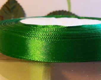 1 meter of 12mm wide green satin ribbon