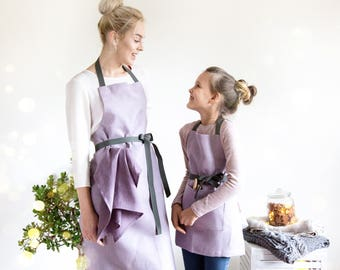 Mother and Daughter Aprons made of lilac linen with adjustable straps, Kids apron, Cooking aprons, Toddler apron
