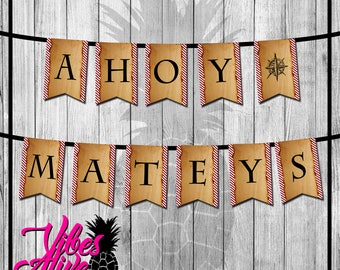 AHOY MATEYS Pirate Party Banner