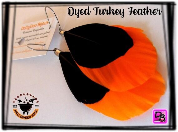 Boucles d'oreilles Plumes [Orange et Noir]