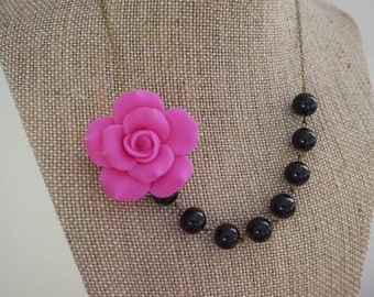 Fuchsia Necklace Flower Necklace Bridesmaid Jewelry Bridesmaid Gift Black Necklace Statement Necklace Beaded Necklace Bib Necklace Gift