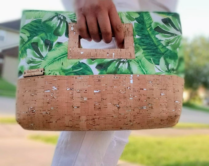 Featured listing image: Palm Green Cork Clutch, Clutch Purse, Clutch Bag, Cork Handbags, Cork Bag, Cork Purse, Palm Leaf, Palm Leaf Print, Green Purse, Green Clutch