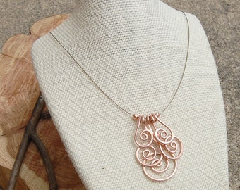 Copper Necklace. Minimalist. Copper. Spiral. Cluster. Wire Jewelry.