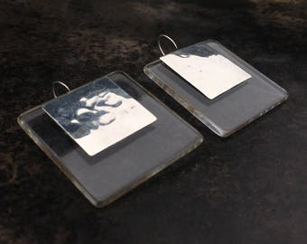 Studio earrings in lucite and sterling.  Fabulous graphic statements!