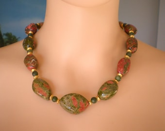 Necklace made with Freeform, floating Sizes, Unakite Beads & round little Jade Beads, 21 Inches lomg