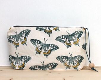 Butterfly clutch bag, large pencil case, boho clutch, block printing, handmade