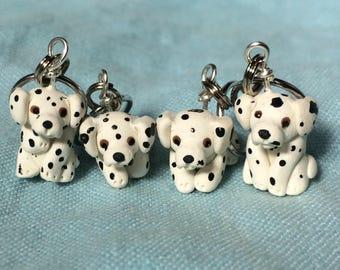 Miniature Dog, Knitting Helper, Dog Stitch Markers ,Dalmatian, Polymer Clay Dog, Knitting Accessories, Knitting Notions, set of 4