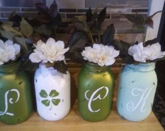 L U C K Of The Irish Mason Jars - Set of 4