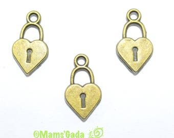 Set of 6 charms/pendant/charms pattern shaped padlock heart with lock bronze REF:B / 126