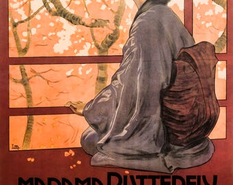 Madame Butterfly poster art print retro 50 x 70 cm