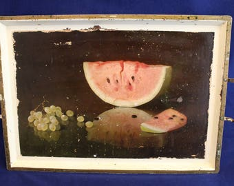 """Vintage Watermelon & Grapes Still Life Metal Tray, 11""""x16"""", Double Handles"""