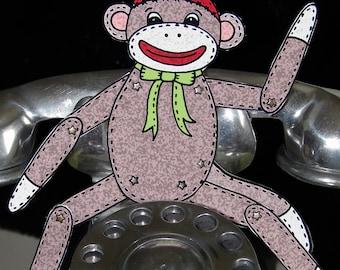 PDF Sock Monkey Sam Paper Doll