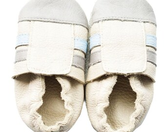 Genuine Leather Baby Moccasins   Sporty {Stone/Gray}