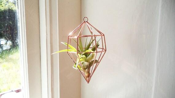 Geometric air plant holder, handing air planter holder with plant, copper geometric plant holder, silver