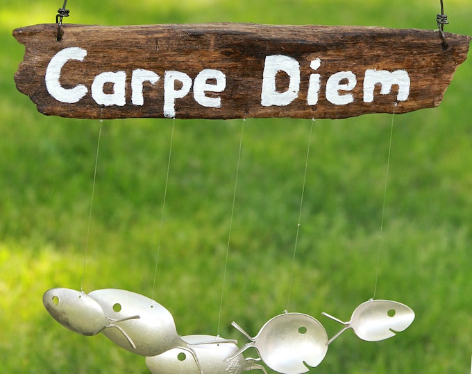 Carpe Diem - Driftwood And Spoon Fish Sign, Silver Spoon Fish, Large Wind Chime, Custom Wooden Sign, Carpe Diem Sign, Seize The Day Sign Art