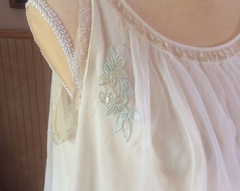 RESERVED -  50s-60s Sheer nightgown / negligee with flower applique accent