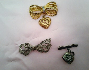 Vintage Bell & Bow Brooches - Various Vintage Brooches