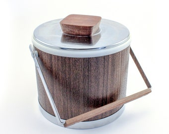 Vintage Kromex Ice Bucket with Faux Wood Finish