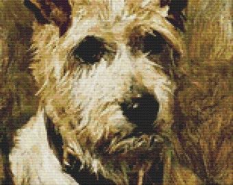 Dog Cross Stitch, Portrait of a Terrier: Darkie, Counted Cross Stitch, Embroidery Kit, Art Cross Stitch, John Emms