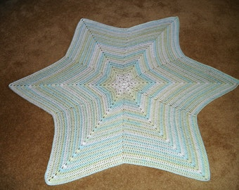 "Turquoise-Green Crocheted Star Baby Blanket/Afghan 55"" (Point-to-Point)"