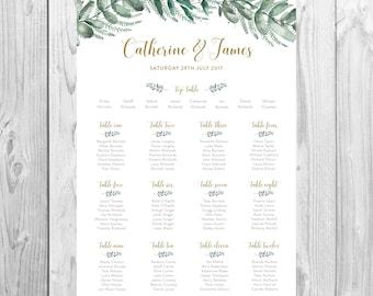 Personalised Wedding Table Plan {Greenery} - DIGITAL DOWNLOAD