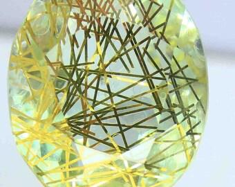 Fabulous 155.90 Ct Certified Brazilian Oval Shape Yellow Rutilated Quartz Gemstone AO1308