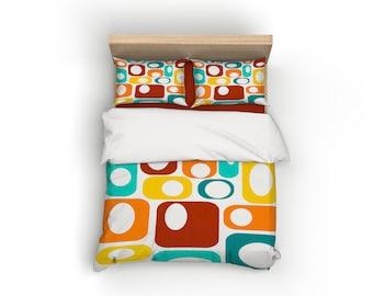 White, Retro, Duvet Cover, Home Decor, Bedding, Mid Century Modern, Bedroom Decor, Geometric, Modern Home Decor, Mid Century, Yellow