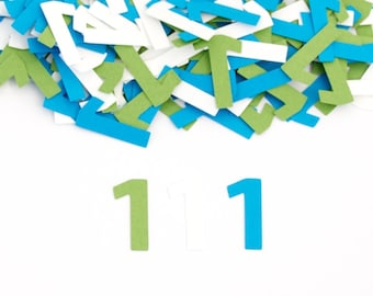 Number Confetti, Boy's 1st Birthday Party, Boy Party Decoration, Blue Green Birthday Party