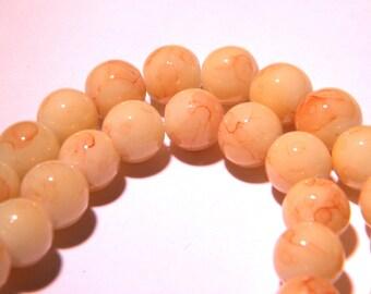 marbled glass - 8 mm beige slightly mottled Brown - PG53 50 beads