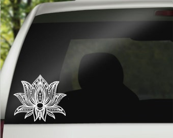 Boho Decal - Lotus Flower Decal -  Lotus Decal  - Car Decal - Laptop Decal