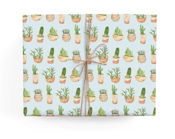 Botanic Succulent Pattern Gift Wrap - Illustrated Birthday, Celebration, Special Occasion Wrapping Paper