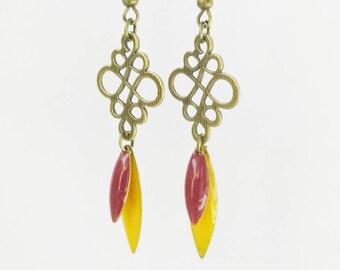 ARABESQUE style ethnic shuttle yellow enamel earrings and raspberry spring summer