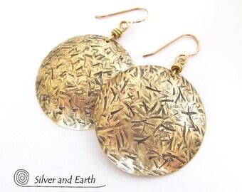 Big Gold Brass Earrings, Round Dangle Earring, Handmade Brass Jewelry, Bold Statement Earrings, Modern Everyday Jewelry, Large Gold Earrings